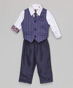 Loving this Purple Pinstripe Four-Piece Vest Set - Infant, Toddler & Boys on #zulily! #zulilyfinds