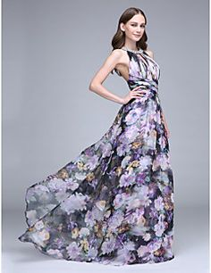 Bohemian Style Sheath / Column Halter Neck Sweep / Brush Train Chiffon Open Back Prom Dress with Pattern / Print / Criss Cross by TS Couture® - ! Catch it now from LightInTheBox > Floral Evening Dresses, Evening Dresses Online, Cheap Evening Dresses, Chiffon, Couture, Robes D'occasion, Open Back Prom Dresses, Bridesmaid Dresses, Wedding Dresses