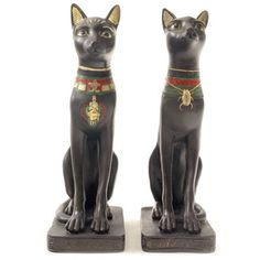Decorative+Black+Bast+Cat+Egyptian+Figurines+(Set+of+2)