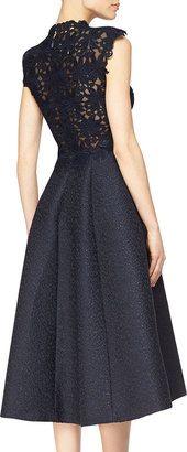 ShopStyle: Monique Lhuillier Guipure Lace & Jacquard Fit-And-Flare Dress Stylish Dresses, Cheap Dresses, Sexy Dresses, Nice Dresses, Fiesta Outfit, Evening Skirts, Jacquard Dress, Monique Lhuillier, Embroidery Dress