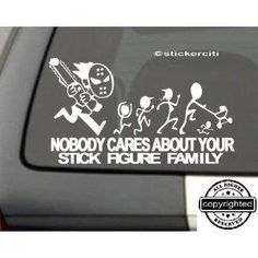 """I found 'ChainSaw Decal F*@K Nobody cares about YOUR STICK FIGURE FAMILY Funny Vinyl Sticker 8""""x5""""' on Wish, check it out!"""