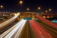 Bright Lights - Big City: the High Five Interchange in Dallas Light Trails, Bright Lights, Old Photos, Dallas, United States, In This Moment, Adventure, Night, City