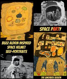 Buzz Aldrin Inspired Space Helment Self-Portrait DIY for Kids