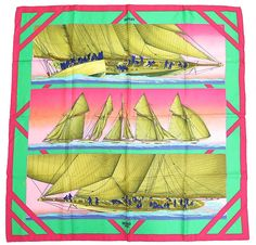 "Authentic HERMES ""RAFALES"" Pink 100% Silk Scarf #19370 #HERMS #Scarf"