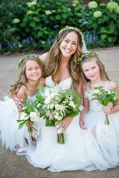 Beautiful bride and her flower girls: http://www.stylemepretty.com/little-black-book-blog/2016/08/15/whimsical-summer-wedding-with-several-cute-cakes/ Photography: Averyhouse - http://galleries.averyhouse.net/