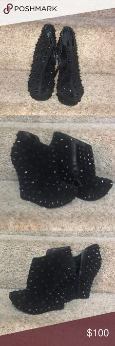 Black suede velvet ankle bootie with studs Black ankle high booties, platform with pointy studs suede Posh Impulse Shoes Ankle Boots & Booties