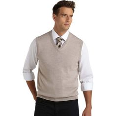 Sweaters & Vests - Pronto Uomo Oatmeal V-Neck Sweater Vest - Men's... ($35) ❤ liked on Polyvore