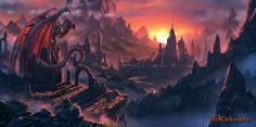 Inkarnate by draken4o dragon castle mountains sunset sunrise monster beast creature animal | Create your own roleplaying game material w/ RPG Bard: www.rpgbard.com | Writing inspiration for Dungeons and Dragons DND D&D Pathfinder PFRPG Warhammer 40k Star Wars Shadowrun Call of Cthulhu Lord of the Rings LoTR + d20 fantasy science fiction scifi horror design | Not Trusty Sword art: click artwork for source