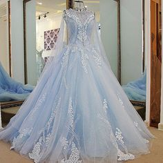 New Arrival A-Line Blue Tulle Train Prom Dresses with Flower Appliques 2017 could be a pretty winter wedding dress as well. Prom Dresses 2018, Blue Wedding Dresses, Quinceanera Dresses, Wedding Gowns, Blue Dresses, Prom Dress With Train, The Dress, Elegant Dresses, Pretty Dresses
