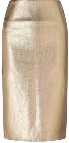 Cedric Charlier Gold Painted Wool Skirt