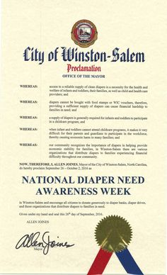 WINSTON-SALEM, NC- Mayoral proclamation recognizing Diaper Need Awareness Week (Sep. 26-Oct. 2, 2016) #DiaperNeed Diaperneed.org