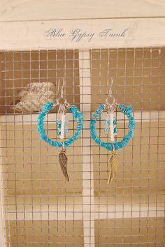 Blue Turquoise Dangle Earrings by Bluegypsytrunk on Etsy