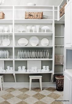 remodeled butler s pantry, closet, home decor, Open shelving with white dishes and platters Ready for company Pantry Shelving, Pantry Storage, Open Shelving, Kitchen Organization, Pantry Closet, Plate Storage, Plate Racks, Kitchen Pantry, Kitchen Ideas