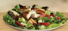 """""""Chicken, Apple & Cranberry Garden Fresh Salad Our Chicken, Apple & Cranberry Garden Fresh Salad perfectly blends seven premium lettuces, crisp apples, sweet dried cranberries, and crumbly blue cheese"""""""