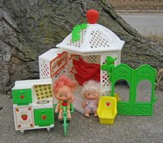 Vintage Strawberry Shortcake Gazebo Playset by IndieCityVintage, $65.00. Had this, used to use the little yellow plastic chairs as car seats in the trunk of my Barbie corvette.  Very safety conscious, I know.