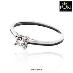 Pori 14-Karat Solid Gold 0.8 Carat Solitaire Cubic Zirconia Ring at 89% Savings off Retail!
