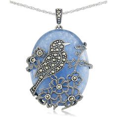 Lord & Taylor Blue Quartz and Sterling Silver Pendant Necklace ($120) ❤ liked on Polyvore featuring jewelry, necklaces, blue, blue quartz necklace, sterling silver jewellery, blue pendant, blue pendant necklace and blue quartz jewelry