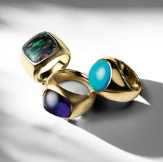 Nature's extraordinary palette inspires exceptionally vibrant one-of-a-kind rings in opalized wood, tanzanite, and turquoise.