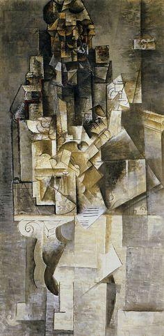 Картина Пабло Пикассо. Человек с гитарой. 1911