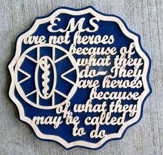 E.M.S. plaque by DNDwoodworks on Etsy, $25.00