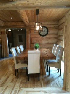 Cute cabin dining. Like the chairs w/ farm table.