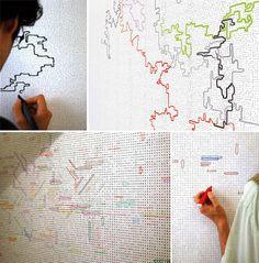 Idée d'occupation d'espace + jeu = Dessiner sur les murs