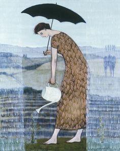 ... gardening in the rain ... by brian kershisnik ... as seen at : artful home ...