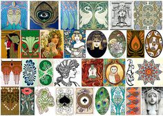 Ceramic decals art nouveau decal sheet by StainedGlassElements