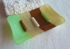 Mint Green, French Vanilla and Brown Glass Soap Dish $15.00