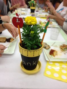 One of the volunteers made these adorable centerp. One of the volunteers made these adorable centerpieces using a little paint and a lot of love! Teacher Luncheon Ideas, Teacher Appreciation Luncheon, Teacher Party, Teacher Appreciation Week, Teacher Gifts, School Centerpieces, School Decorations, School Themes, Centerpiece Ideas