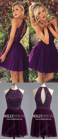 Short Homecoming Dresses,Purple Prom Dresses,Tulle Cocktail Dresses Beading,Simple Graduation Party Dresses Spaghetti Straps,Elegant Prom Dresses For Teens #MillyBridal #HomecomingDresses #PromDresses #graduationdresses