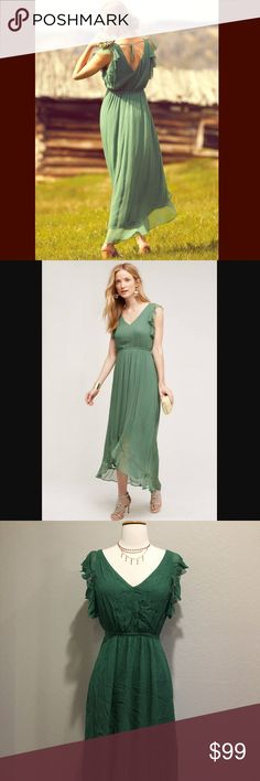 "Anthropologie Hd in Paris green maxi NWT. Lightweight. Flirty and romantic. Pull on type. Elastic waist. Bust flat across 17"". 56"" long from shoulder to the lower back hem. Price is firm unless bundle. Will steam all the wrinkles out before shipping. Anthropologie Dresses Maxi"