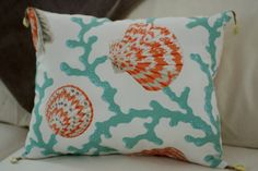 Beach Decor Coral and Seashell Pillow with Shell Tassels 16x12 Throw Pillow - Sea Foam and Coral