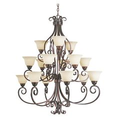15-bulb iron uplight chandelier in oil rubbed bronze with a scrolling silhouette and bell-shaped frosted ivory glass shades.   Prod...