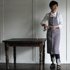 Fog Linen Work Linen Full Apron - Purple Check - Fog Linen Work - modern - aprons - by HORNE