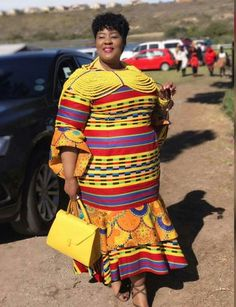 Beautiful Ankara Styles for the Plus size Ladies Shweshwe Dresses, African Maxi Dresses, African Dresses For Women, African Women, Xhosa Attire, African Attire, African Wear, African Style, African Design