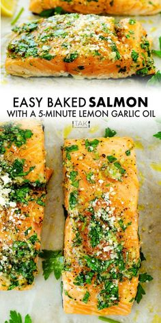 An easy Lemon Garlic Salmon recipe with a quick-fix lemon garlic oil that takes only five minutes to prep and comes packed with flavor! It yields perfectly juicy, flaky salmon fillets and is elegant to serve for entertaining purposes, yet quick and easy enough to whip up any night of the week. Seafood Dinner, Dinner Menu, Dinner Ideas, Lemon Garlic Salmon, Baked Salmon, Salmon Recipes, Seafood Recipes, Frozen Salmon, Glazed Carrots