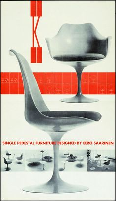 Herbert Matter • Knoll Single Pedestal Furniture Designed By Eero Saarinen, ca. 1957