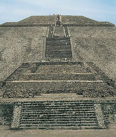 Stairs ascending the Pyramid of the Sun, Teotihuacán, Mexico  I climbed it once, but I know I can't do it again! lol