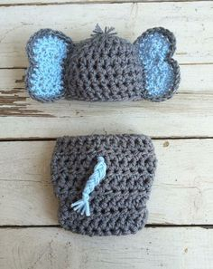 Crochet elephant outfit newborn photo prop by AdalineCrochet