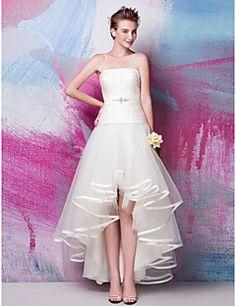 Vestido de Noiva - Marfim Fit & Flare Sem Alças Assimétrico/Mullet Cetim/Tule