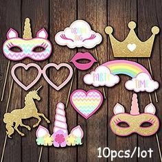 Sakolla Unicorn Photo Booth Props - Rainbow Unicorn Pegasus Photobooth Props for Kids Birthday Party, Baby Shower, Wedding, Unicorn Party Favors Unicorn Birthday Parties, First Birthday Parties, Birthday Party Decorations, Girl Birthday, First Birthdays, Party Themes, Party Ideas, Rainbow Birthday, Decoration Party