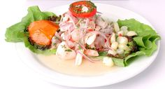 Peruvian ceviche, I like because it has special ingredients, and also we can see the different types of cuts, as we can see in this photo, the onion is sliced.