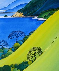 One of my recent paintings. Coastal Slopes by Raewyn Harris www.raewynharris.nz