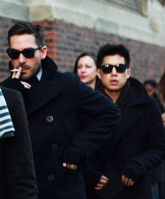 Sunglasses. Pea Coats. Gloves.