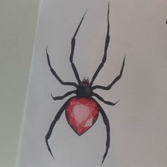 @amand.ink Welcome to the black widow in my gem collection !   Wich insect or little animal would you like to see next ?  #tattoflash  #blackwidow  #spider  #ruby  #gem  #tattooidea  #artist  #art  #chameleonpens