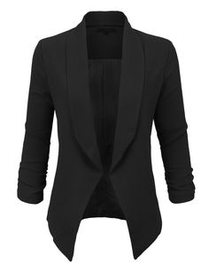 LE3NO Womens Textured 3/4 Sleeve Open Blazer Jacket | LE3NO