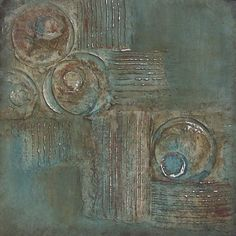 ABSTRACT TRIPTYCH PAINTING, Circles, Geometric, Chocolate Brown, Teal Blue, Burnt Sienna, Silver Foil, Three 12 x 12 Panels