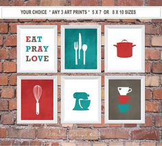 Stunning, yet simple Modern Kitchen Art Print Set, sure to liven up your kitchen! Eat Pray Love, Utensils and Appliances Set & a touch of Love. **…