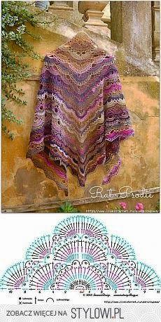 Best 12 Shawl Crochet Patterns Part 15 – Beautiful Crochet Patterns and Knitting Patterns Poncho Au Crochet, Beau Crochet, Bonnet Crochet, Crochet Motifs, Crochet Shawls And Wraps, Crochet Diagram, Crochet Chart, Love Crochet, Crochet Scarves